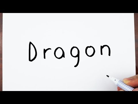 How To Draw A Dragon Using The Word Dragon - Drawing art on paper