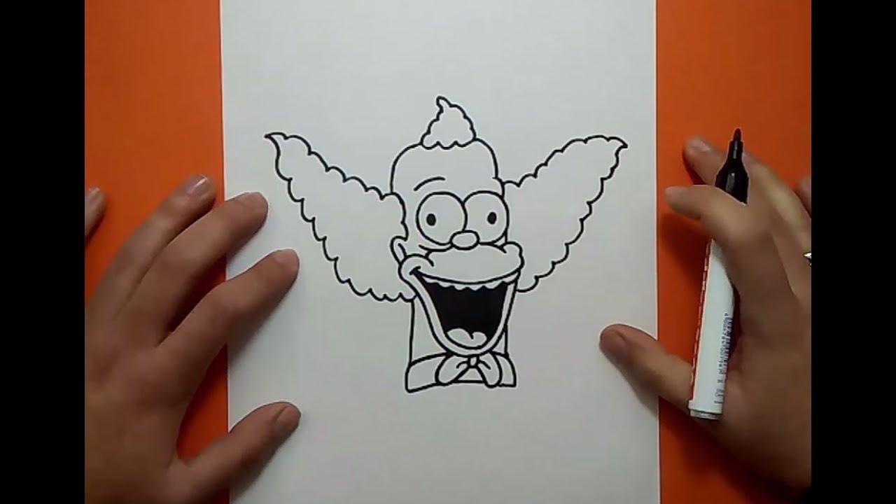 Cómo Dibujar Un Libreta Paso A Paso: Como Dibujar A Krusty Paso A Paso - Los Simpsons