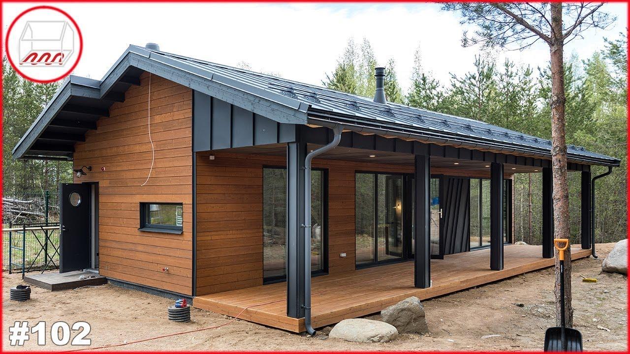 Уютный дом 5*14 с одной спальней   Каркасный дом для двоих 58 м2