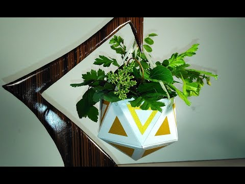 Handmade Hanging Planter. Paper Succulent Planter. Great idea for Christmas gifts or home decor.