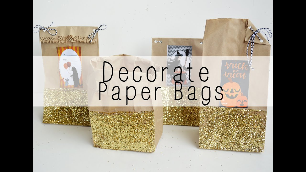 How to decorate paper bags youtube for Bag decoration ideas
