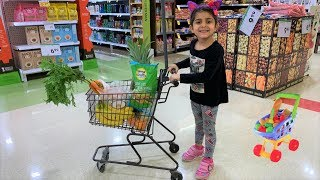 Sally Pretend Play Shopping for Healthy food with mini kids cart