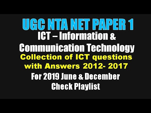 UGC NET 2012-2017 ICT Information And Comm Tech Questions With Official Answers
