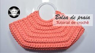 Como fazer bolsa com fio de malha - Tutorial de Crochê - Alça de acrílico | Edi Art Crochê