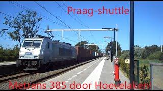 Metrans 386-034-3 komt met de Praag-Shuttle door station Hoevelaken!