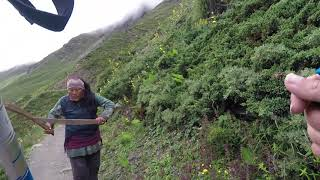 Crazy Nepali womans British family on Annapurna Circuit, Nepal