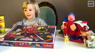 Gertit Toys Review plays with Spider Man Stop Motion Animation using Puzzle