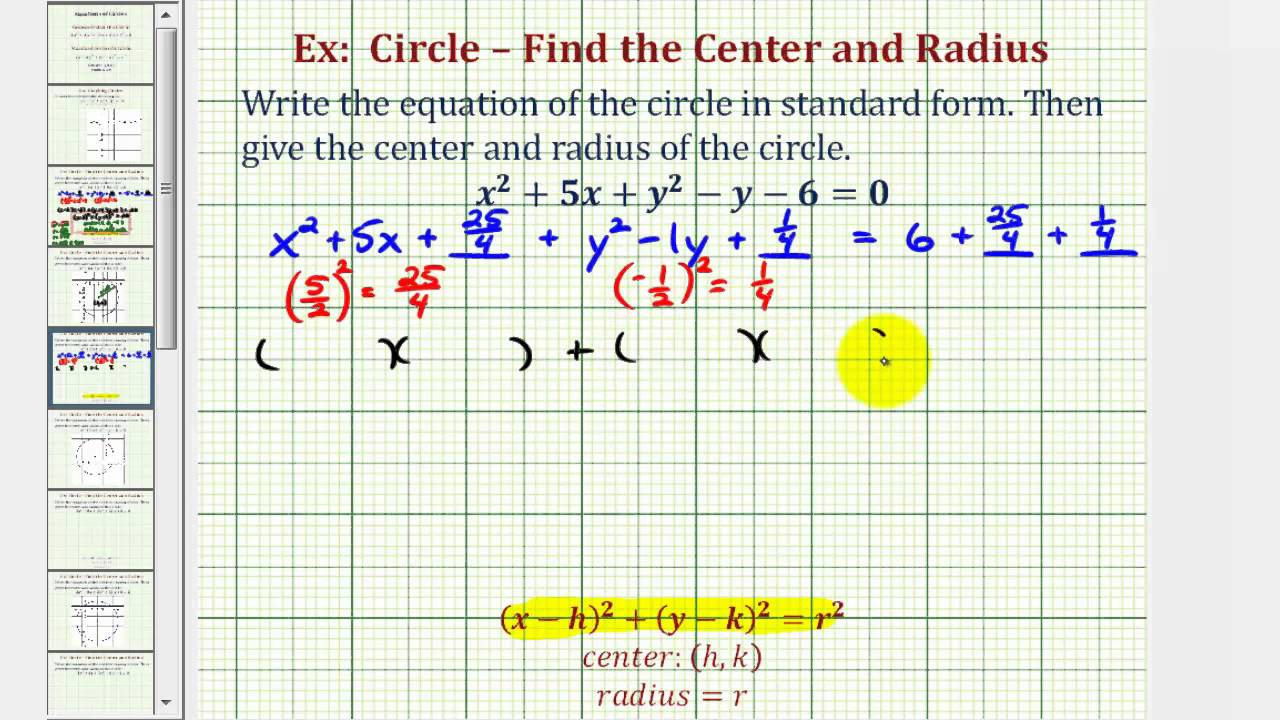 Ex 2 write general equation of a circle in standard form ex 2 write general equation of a circle in standard form fractions falaconquin