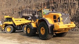 Volvo L250H Wheelloader Loading Komatsu HD605 Mining Truck @ Steinexpo 2014