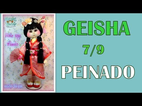 muñeca geisha Maeko , peinado 7/9 video- 306
