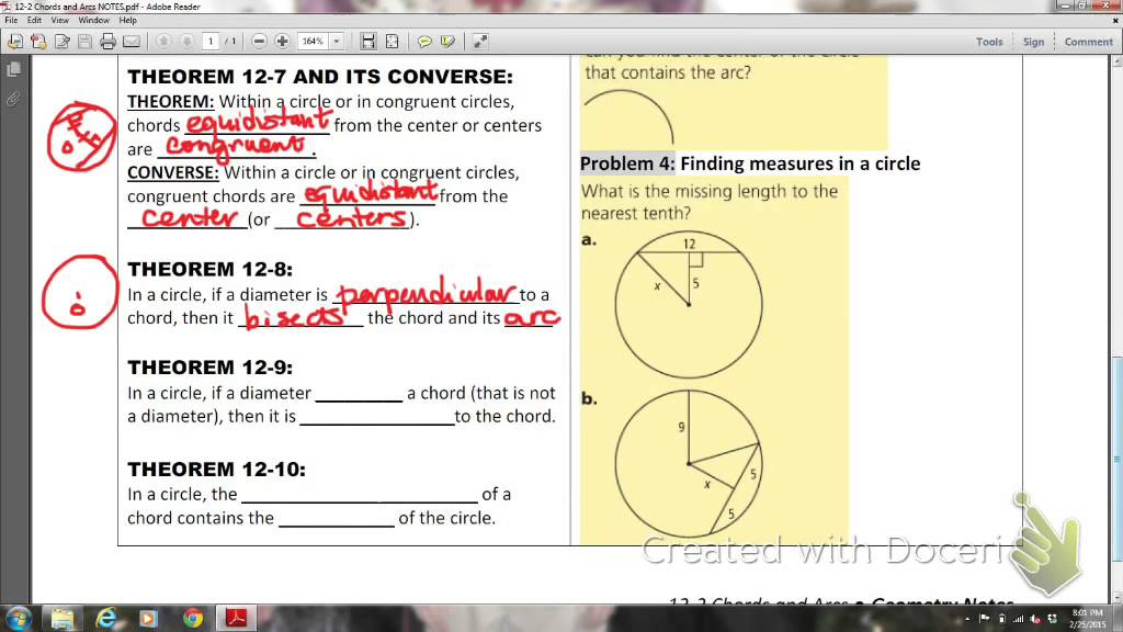 Mathis Geom Lesson 12 2 Chords And Arcs Youtube