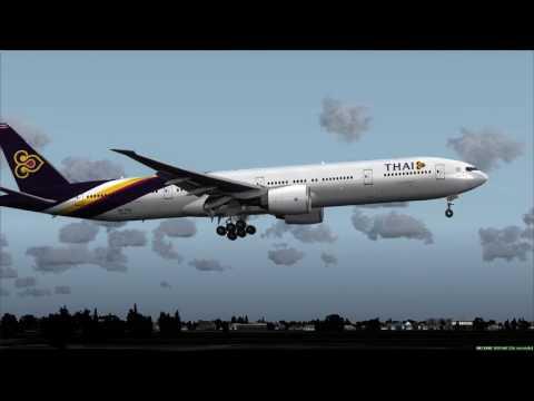Thai Airways 777-300ER landing at Bangkok ++ FSX