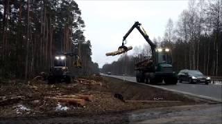 Harwester PONSSE wycinka drzew pod budowę ścieżki rowerowej