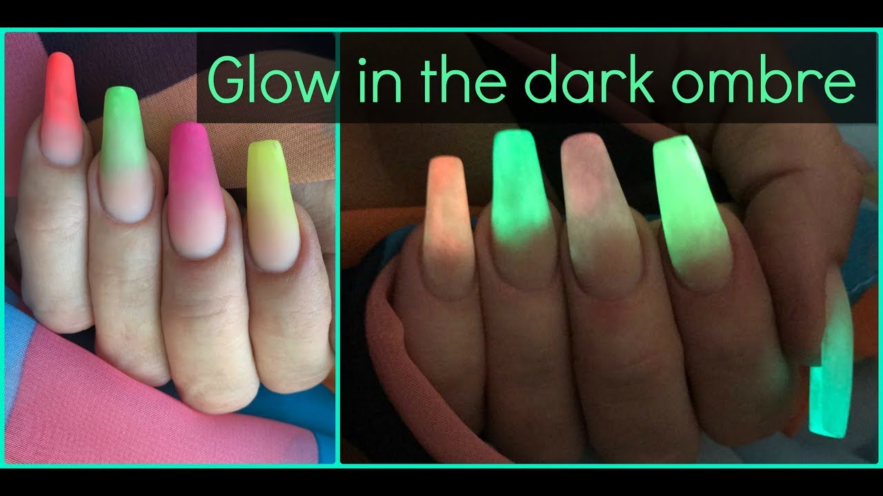 How to: Glow in the dark ombre acrylic nails | Neon colour fade ...