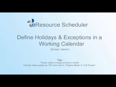 Add Holidays & Exceptions on Working Calendar - eRS Resource Allocation Software