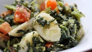 Jamaican Callaloo With Green Bananas & Coconut Milk