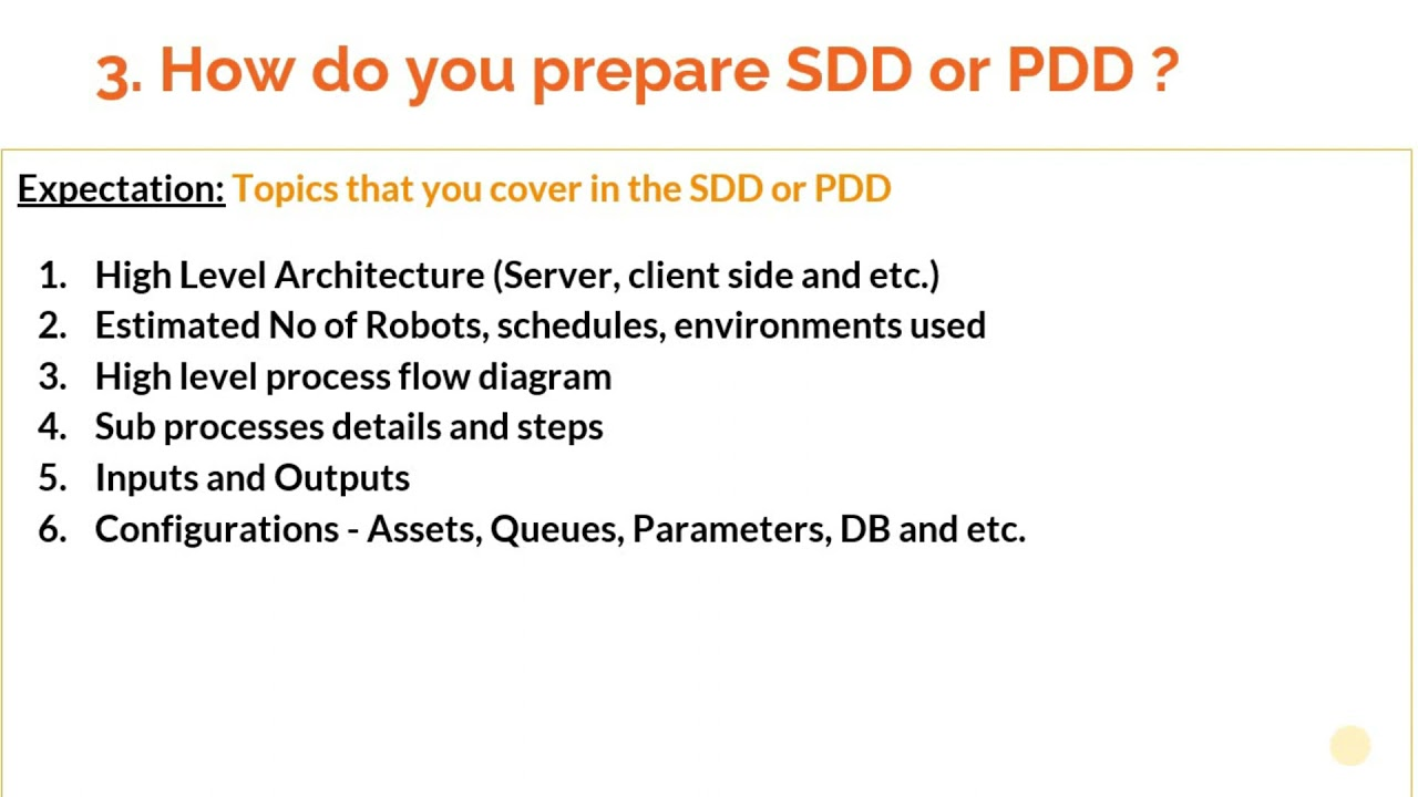 How to answer 'How do your prepare SDD or PDD for your process ?' in RPA interviews ?