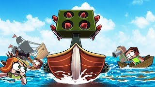 Minecraft   FREE FOR ALL BOAT WARS CHALLENGE! (Most Secure Boat Fort)