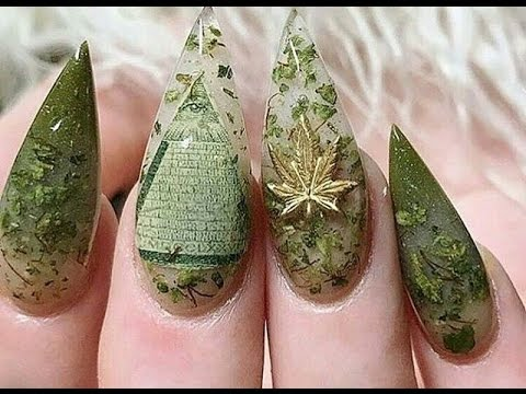 420 Nails Weed Nail Art Youtube