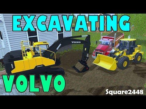 Farming Simulator 17 | Excavating & Hauling Dirt | Day 2 | Dump Truck | Volvo | John Deere