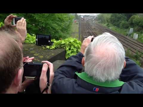 The Flying Scotsman passes underneath Bromham Road Bridge, in Bedford