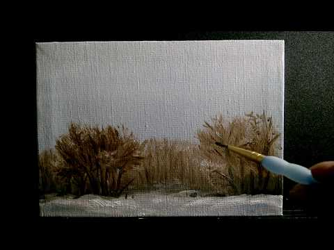 Actual Speed Landscape Oil Painting Winter Sketch ASMR(?)