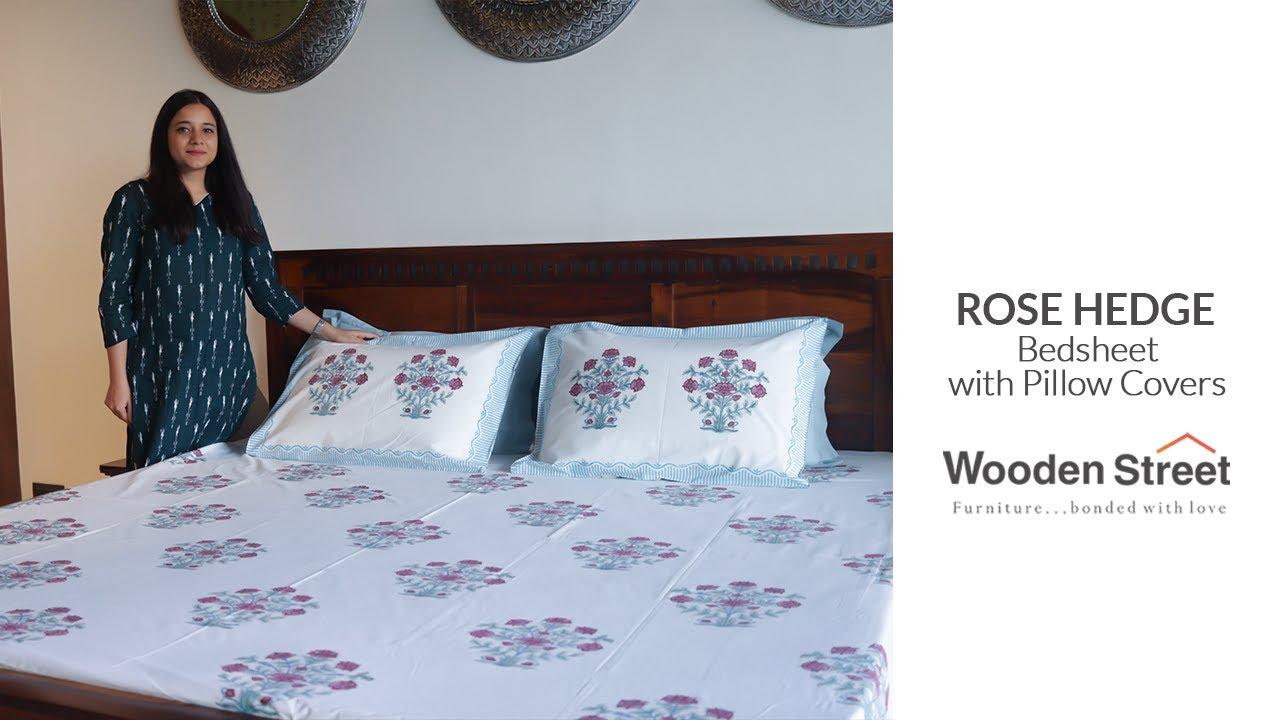 Rose Hedge Bedsheet [ Beautiful Bedsheet Design ] Wooden Street