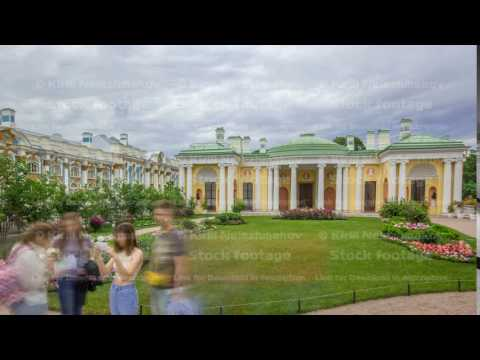 Antique gallery with sculptures and garden in the Catherine park timelapse, Saint-Petersburg