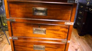 Large Campaign Military Style Filing Cabinet Reproduction Antique Solid Mahogany