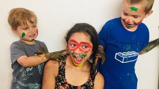 Funny Kids PAINT Babysitter's Face! Crazy Messy
