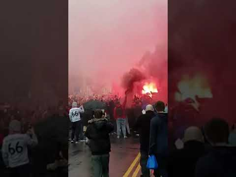 Liverpool fans welcome the ROMA bus , Roma COACH ,anfield atmosphere