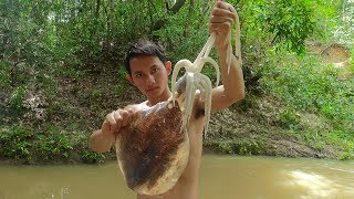 Yummy Fried Squid Recipe | Cooking Big Squid In The Forest Eating Delicious