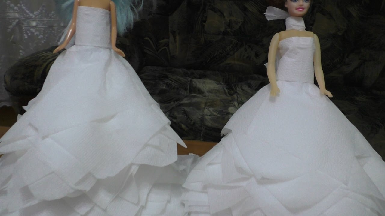 Платья из салфетки для куклы