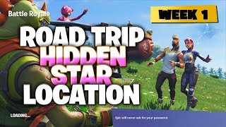 Fortnite Week 1 Road Trip HIDDEN Star Location! How To Get 10 Free Battle Stars (Week 1 Star)