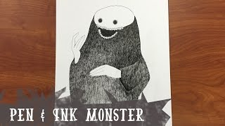 pen ink monster speed drawing