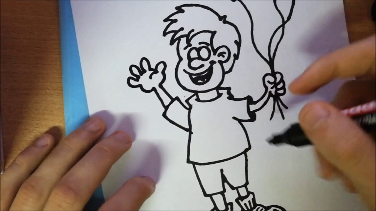 Line Drawing Holding Hands : How to draw a boy holding balloons very easy step by youtube