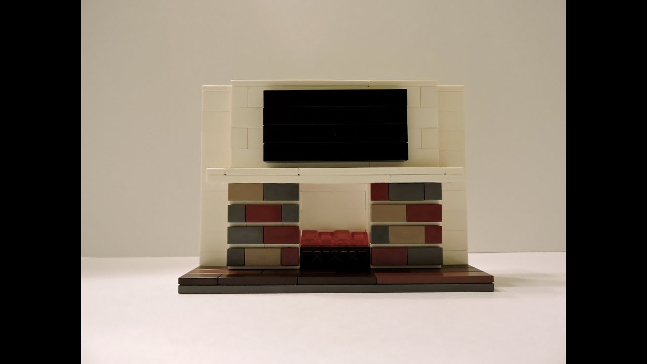 how to make a lego brick fireplace including flat screen tv