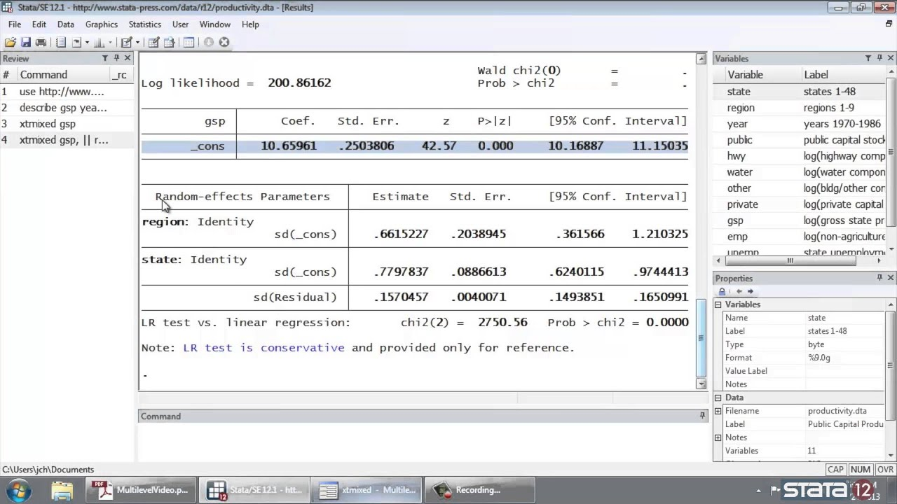 Introduction to multilevel linear models in Stata®, part 1: The -xtmixed-  command