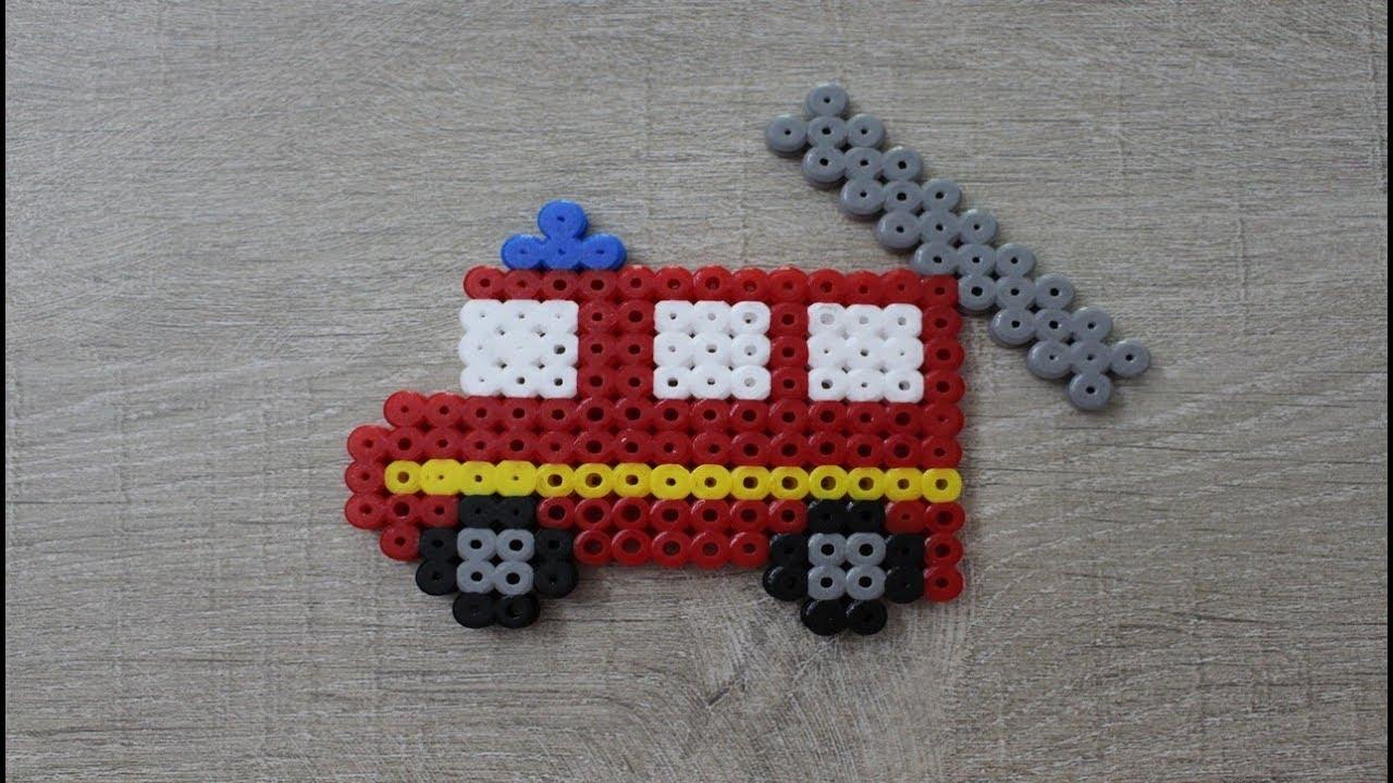 Camion De Pompier En Perles à Repasser