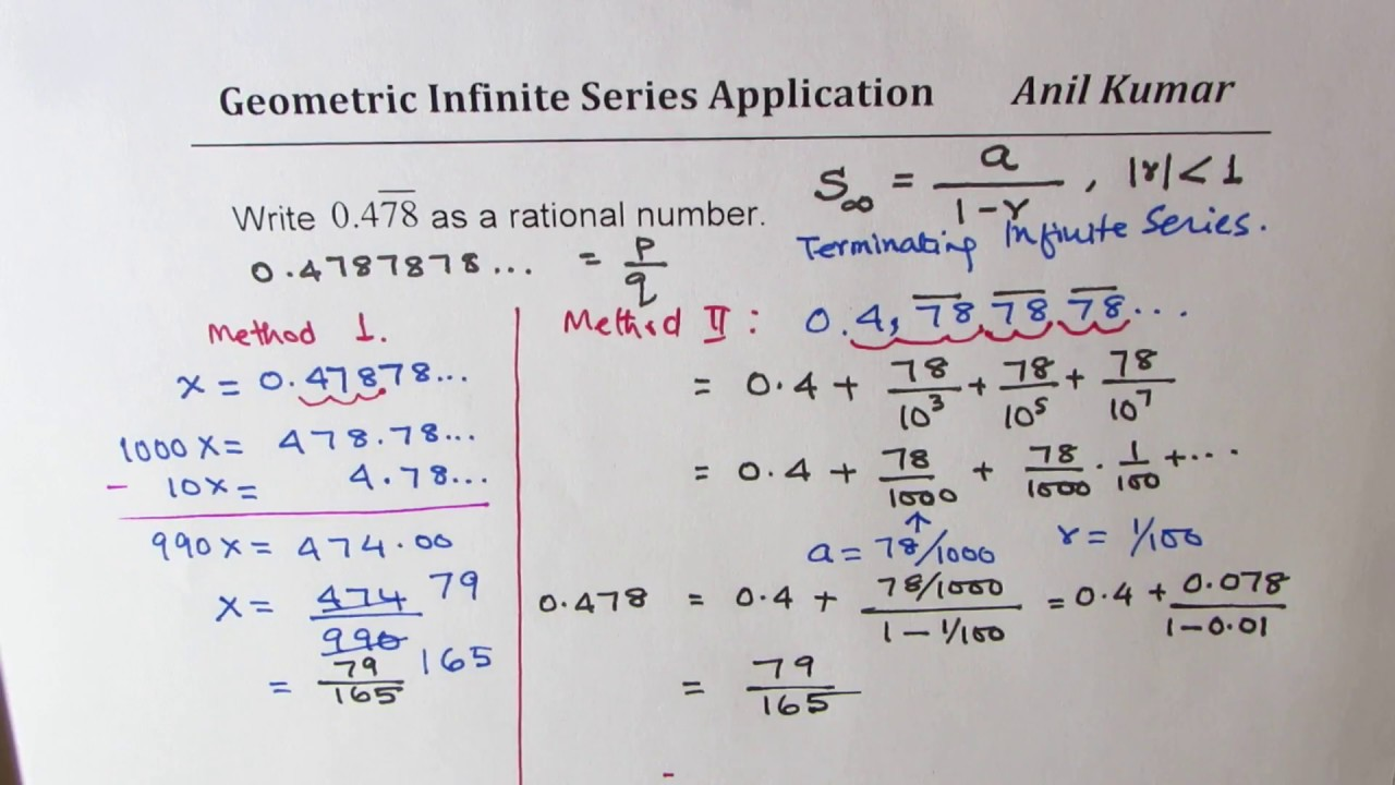 Write 14.14 Repeating Decimal as Rational Number Geometric Infinite  Series