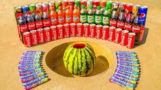 Watermelon vs Coca Cola, Different Fanta, Pepsi and other Sodas vs Mentos in Underground