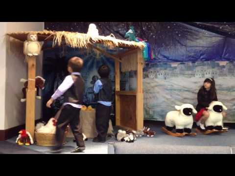 Baby Jesus Stable With Mary & Joseph With Cute Kids
