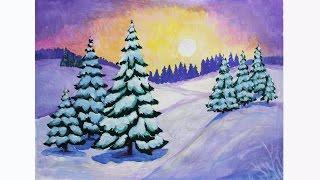уроки рисования. Как нарисовать зиму гуашью How to Draw a Winter Scene  Art School