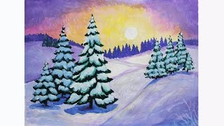 Уроки рисования. Как нарисовать ЗИМУ гуашью. How to Draw a Winter Scene