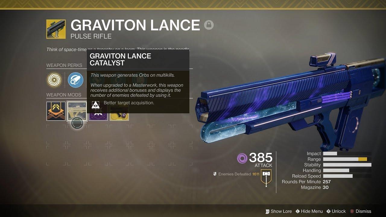 Destiny 2: Graviton Lance Masterwork Unlocked & COMPLETED! (Short PvP & PvE  Gameplay)