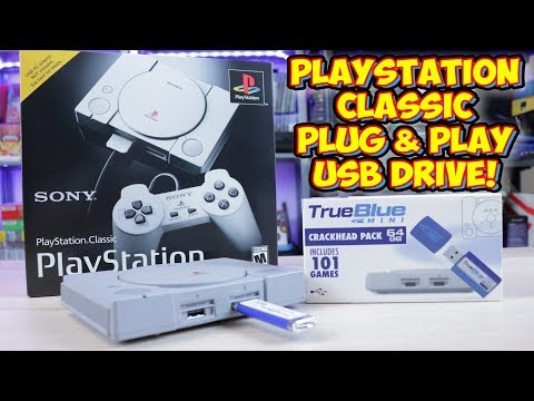 PlayStation Classic Hack 64gb 101 Game USB Mod - True Blue