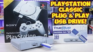 PlayStation Classic Hack 64gb 101 Game USB Mod - True Blue Mini