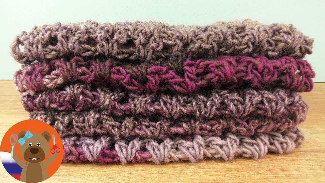 Как быстро связать шарф крючком с V-образным узором. Вязание для начинающих