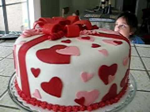 Valentines Fondant Cake my first YouTube