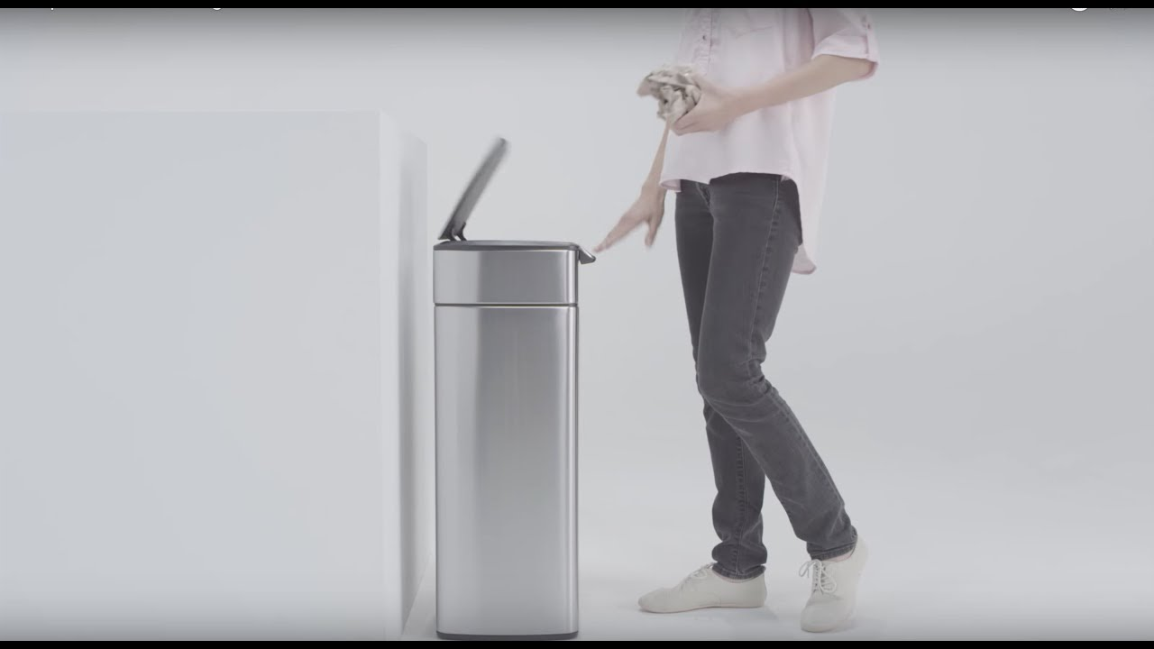 Simplehuman Rectangular Steel Touch Bar Trash Can 30l Youtube